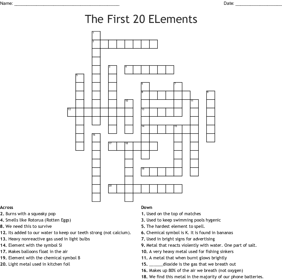 The First 20 Elements Crossword
