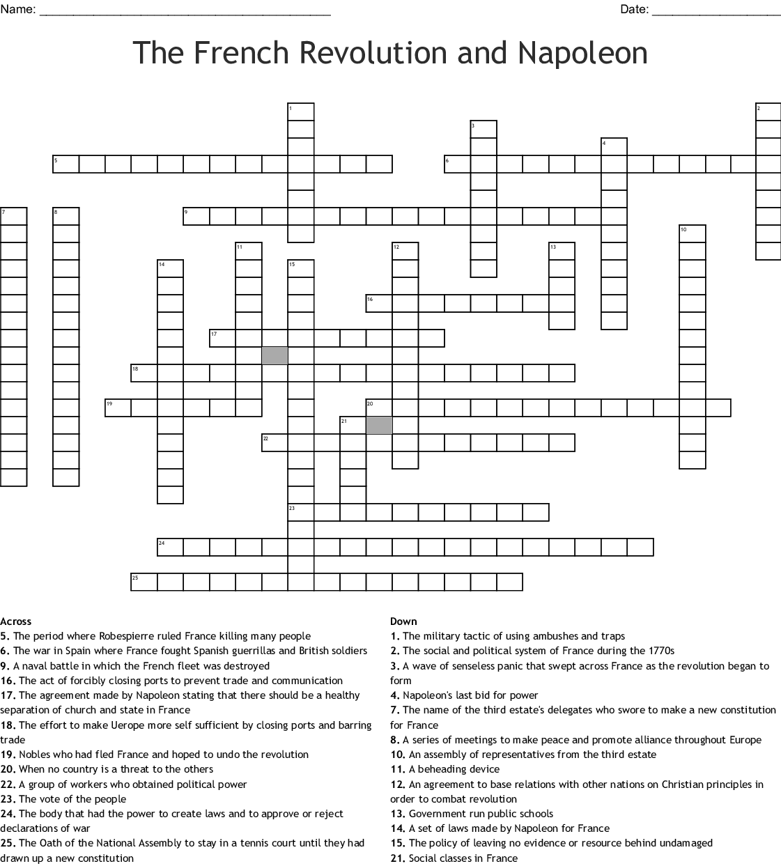 The Causes Of The French Revolution 1 Worksheet Answers