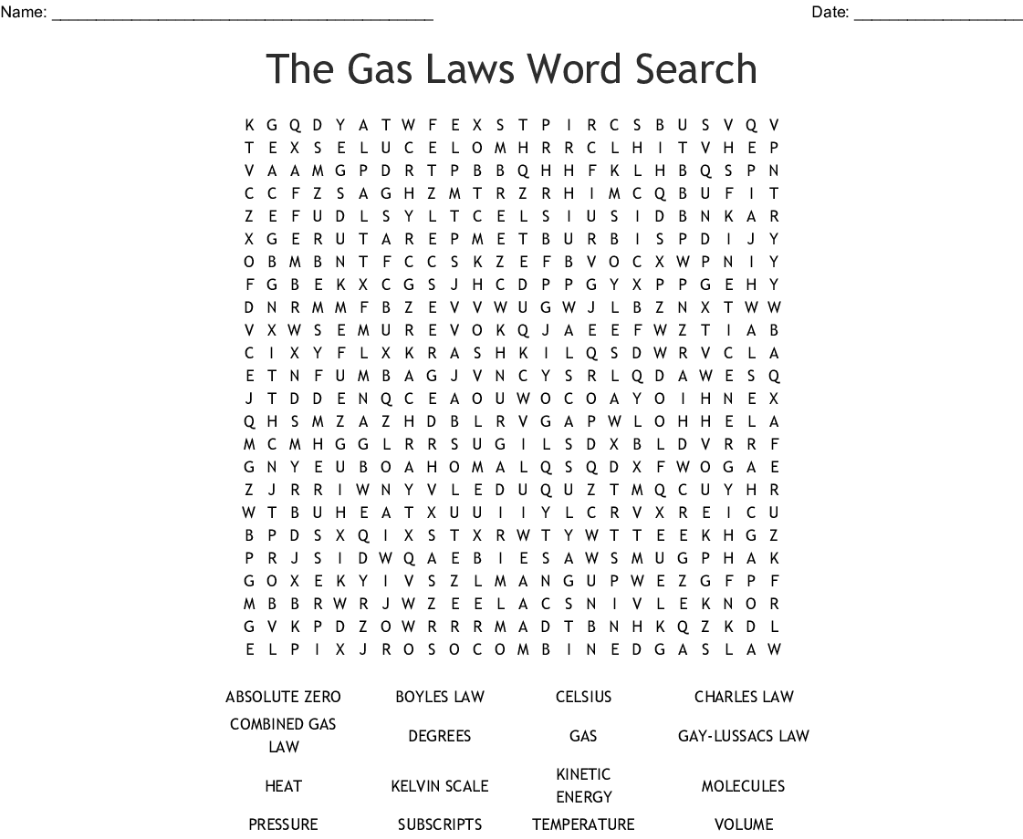 The Gas Laws Word Search