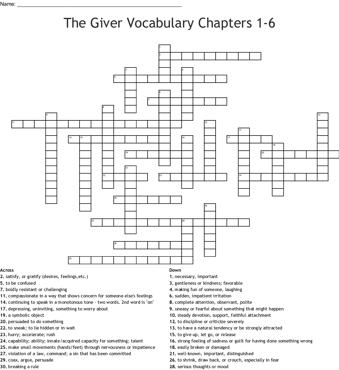 Vocabulary Chapters 5 8 Crossword Puzzle