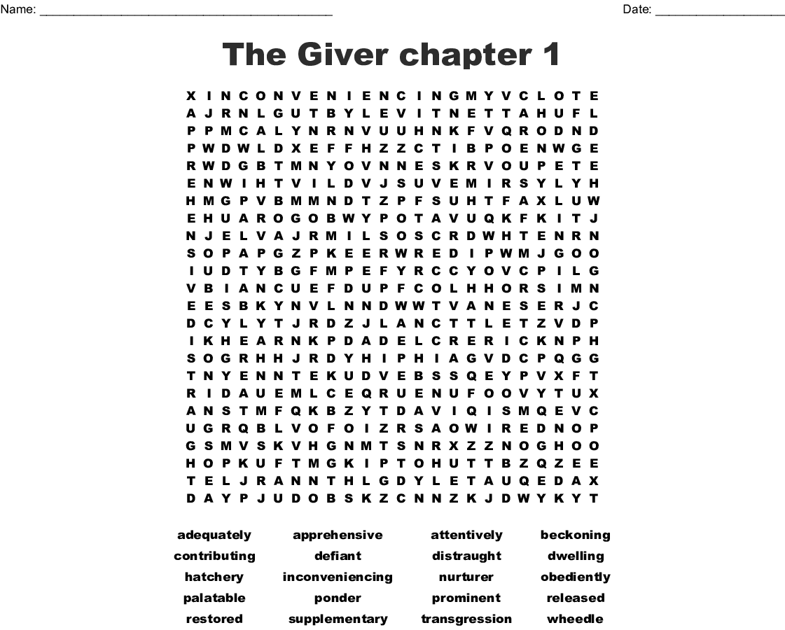 The Giver Chapter 1 Word Search