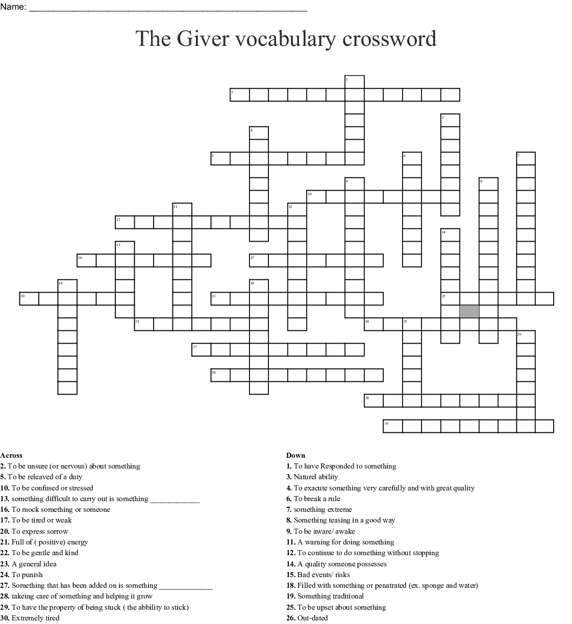 Ela Vocabulary Crossword Puzzle