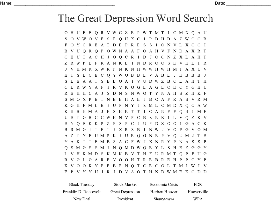 The Great Depression Word Search