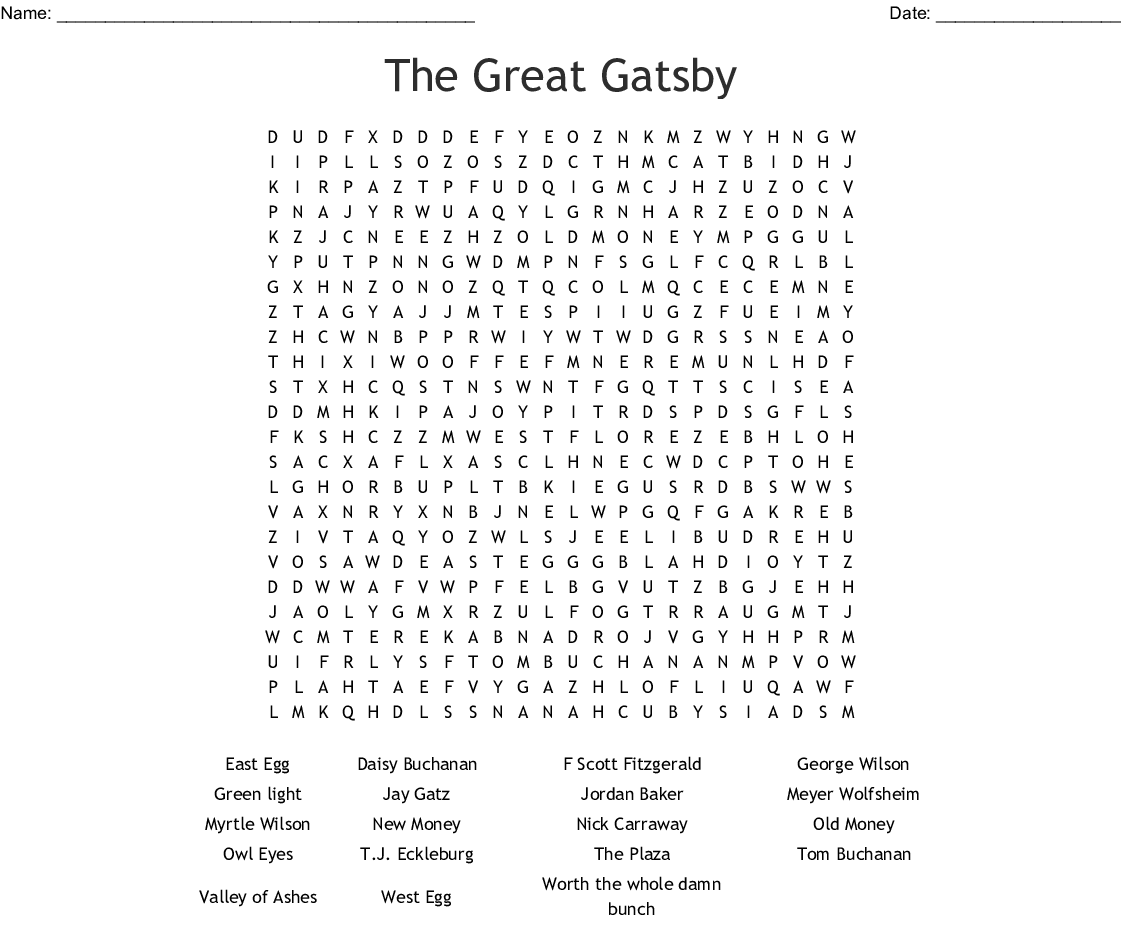 The Great Gatsby Crossword