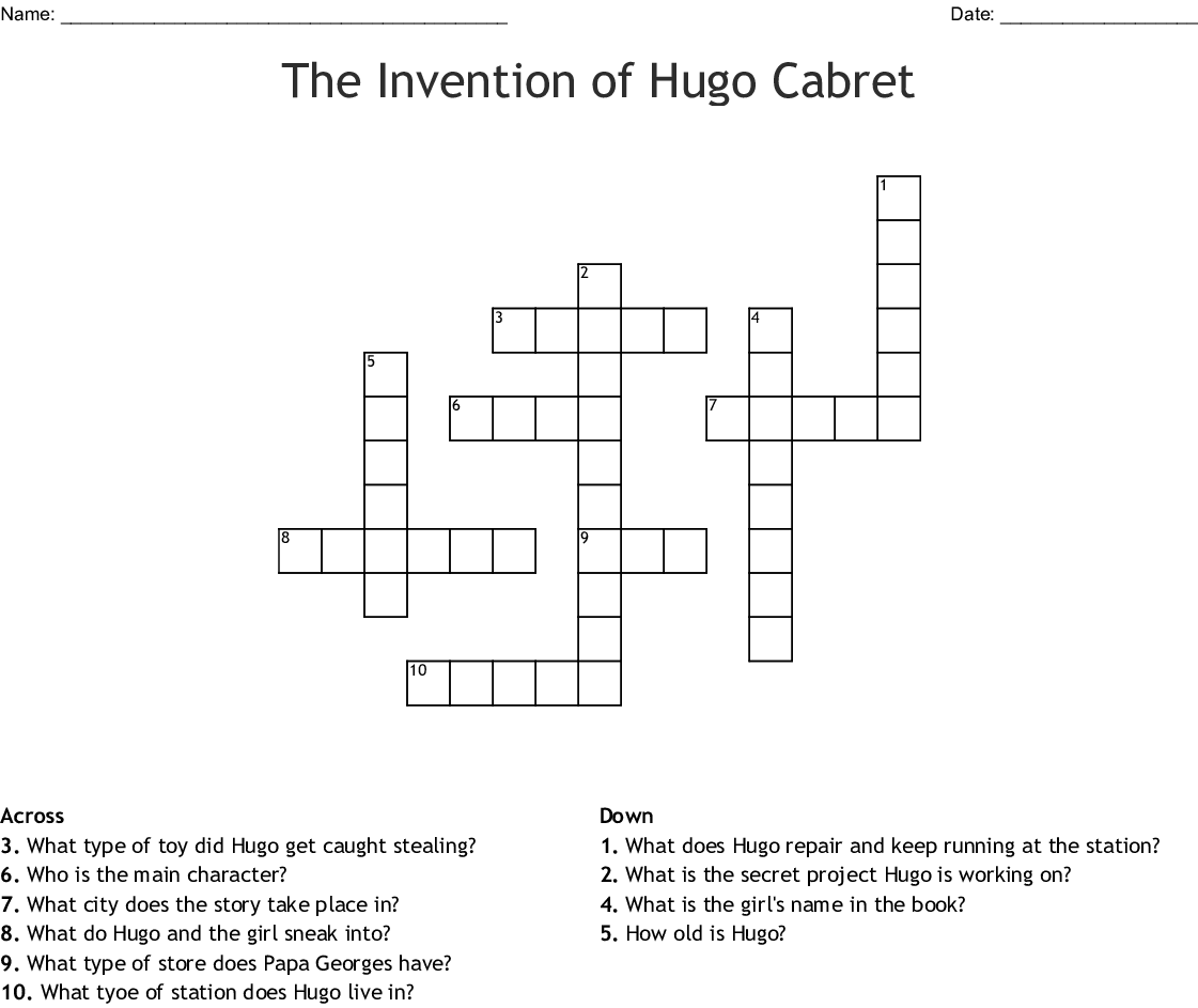 The Invention Of Hugo Cabret Word Search