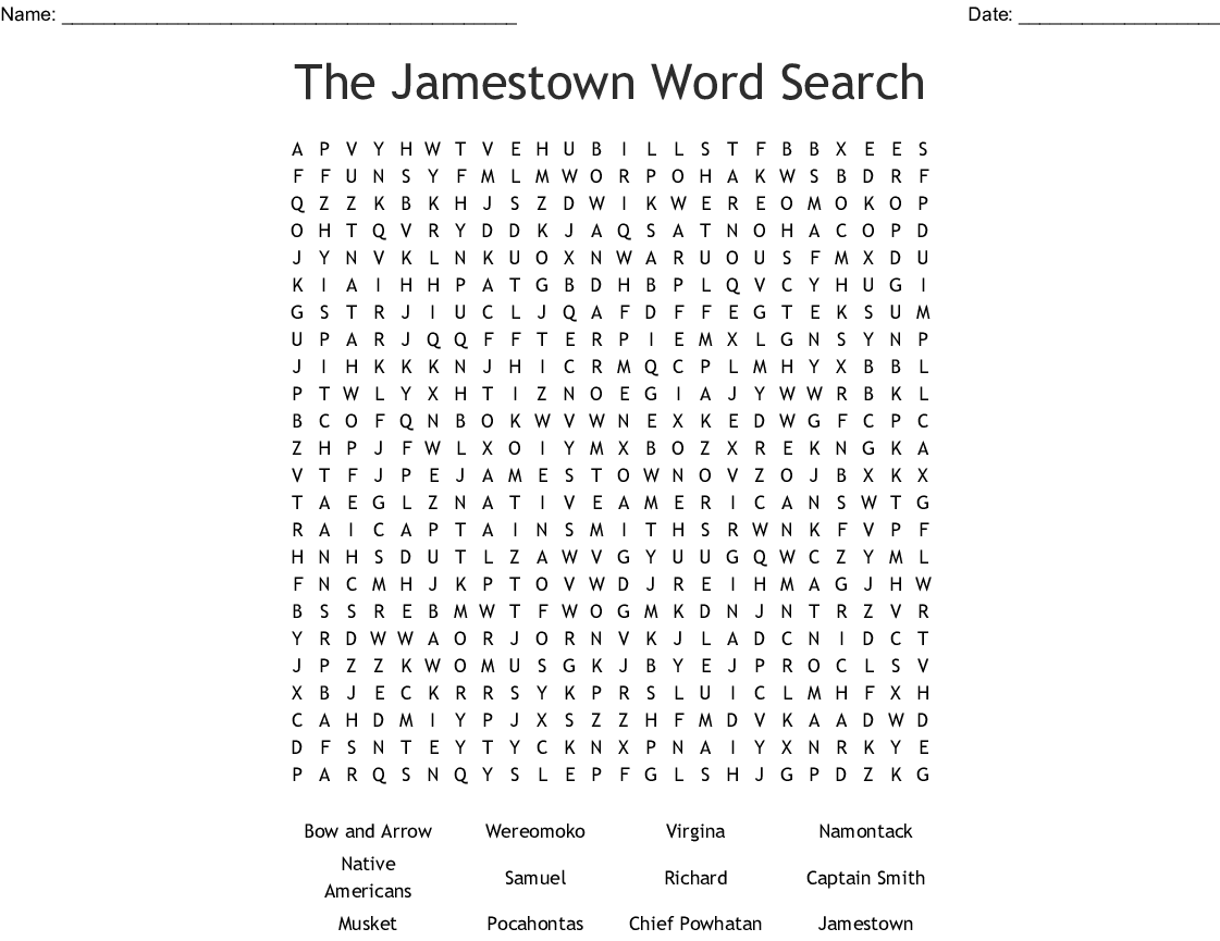 The Jamestown Word Search