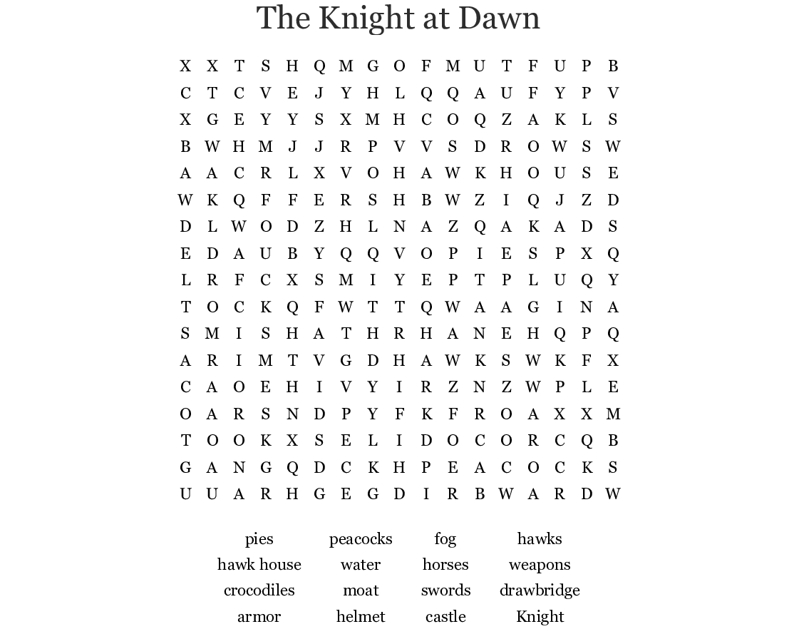 The Knight At Dawn Word Search