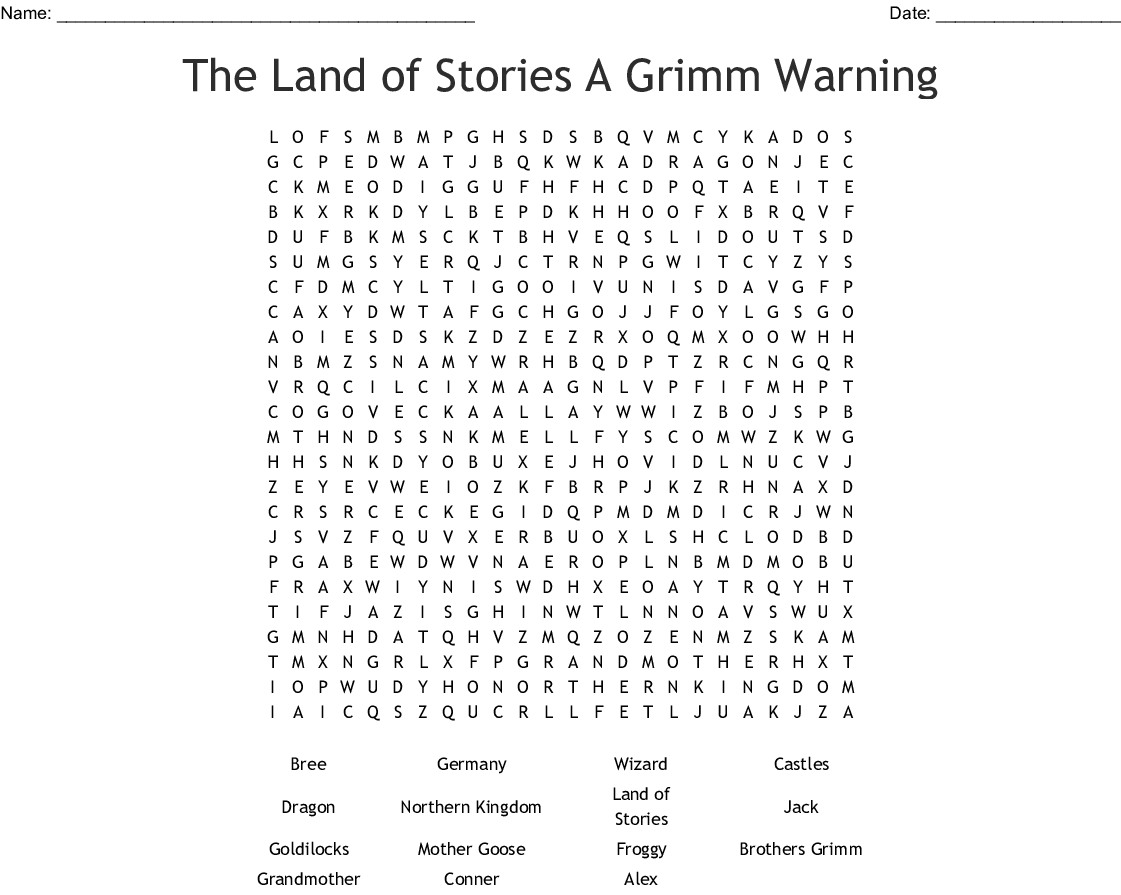 The Land Of Stories Word Search