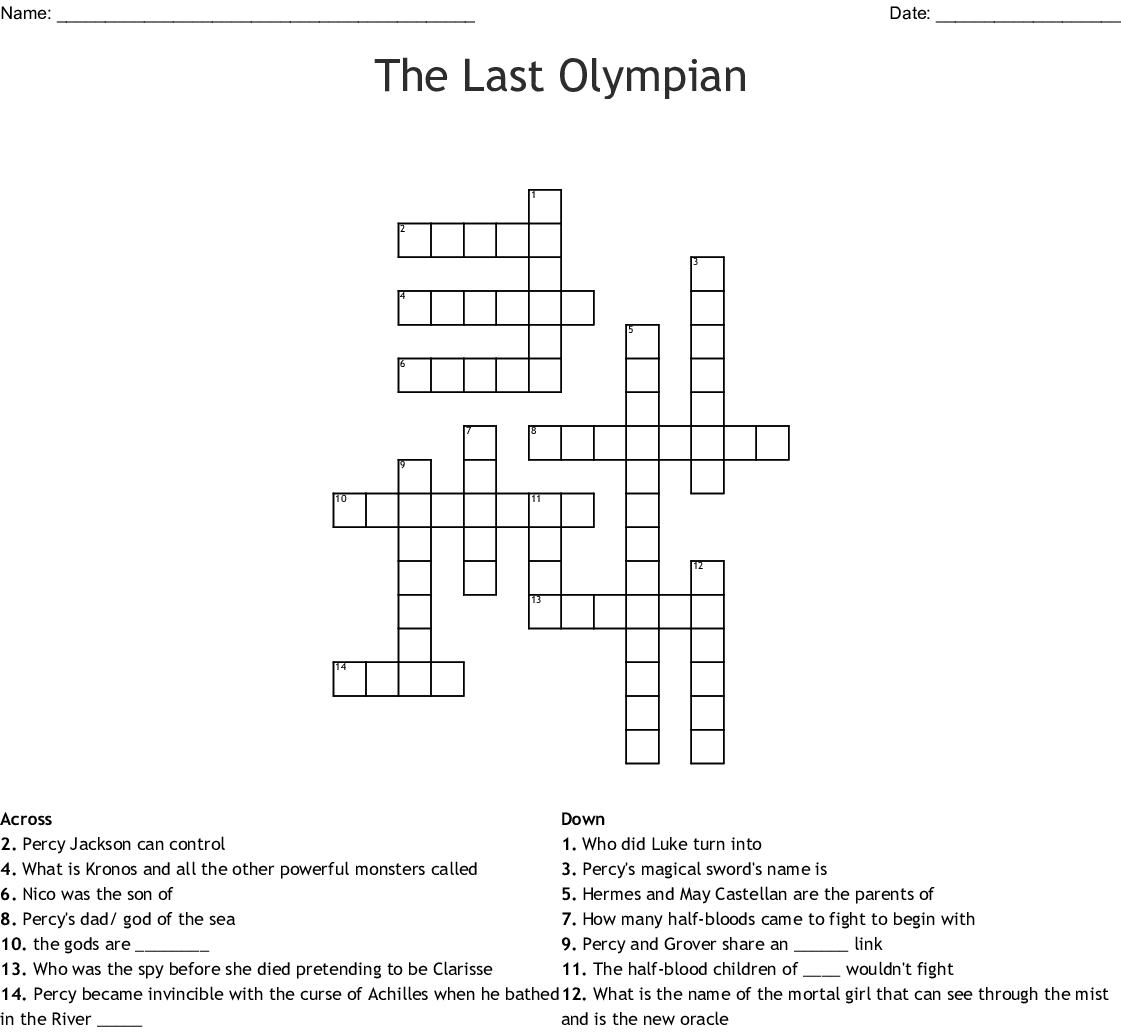 Percy Jackson The Last Olympian Crossword