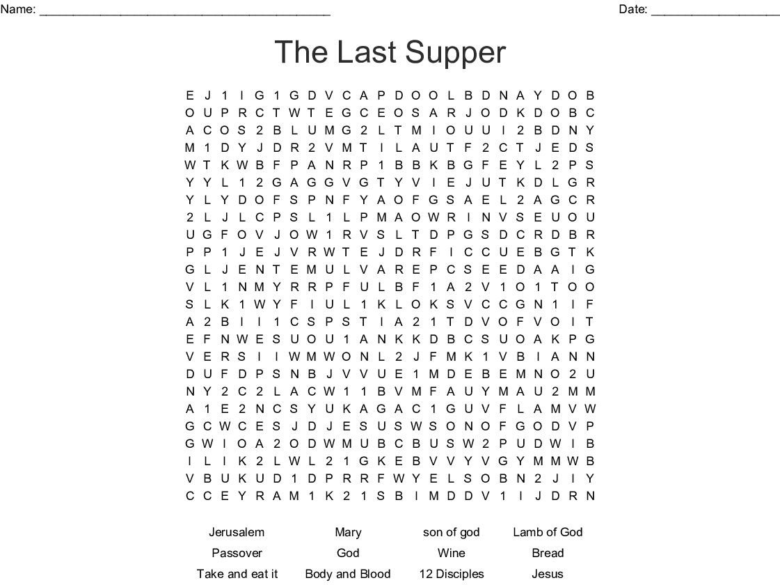 The Last Supper Word Search