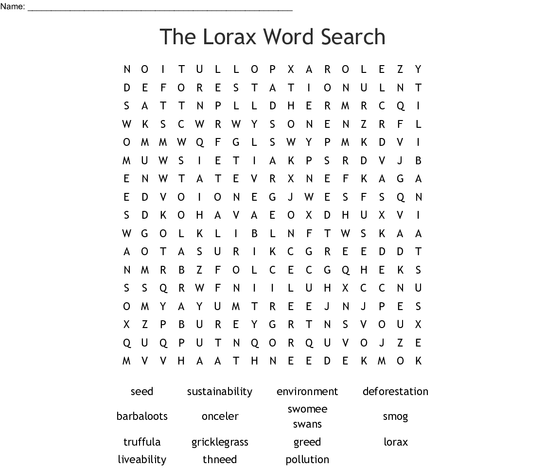 The Lorax Word Search