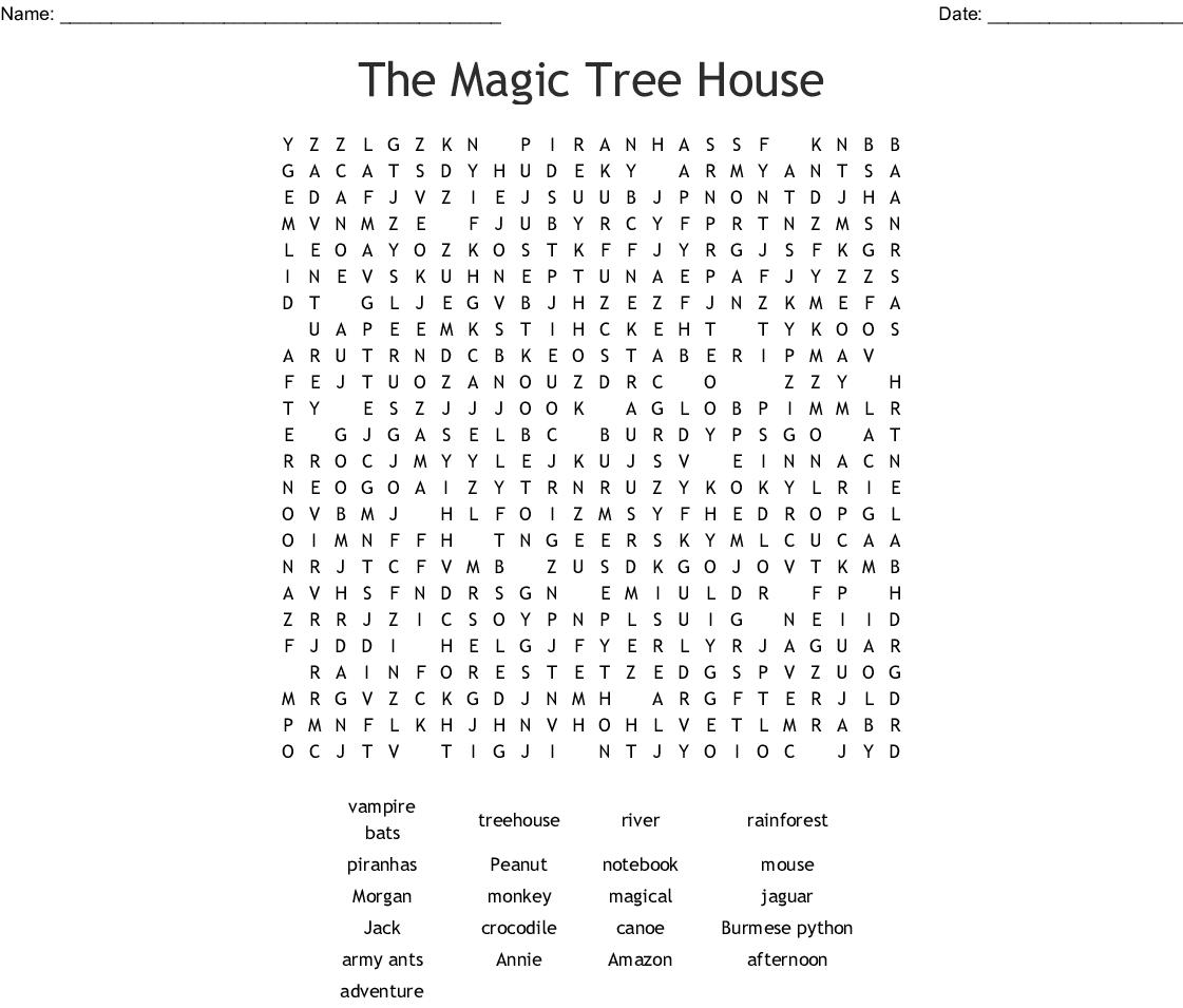 Magic Tree House Word Search