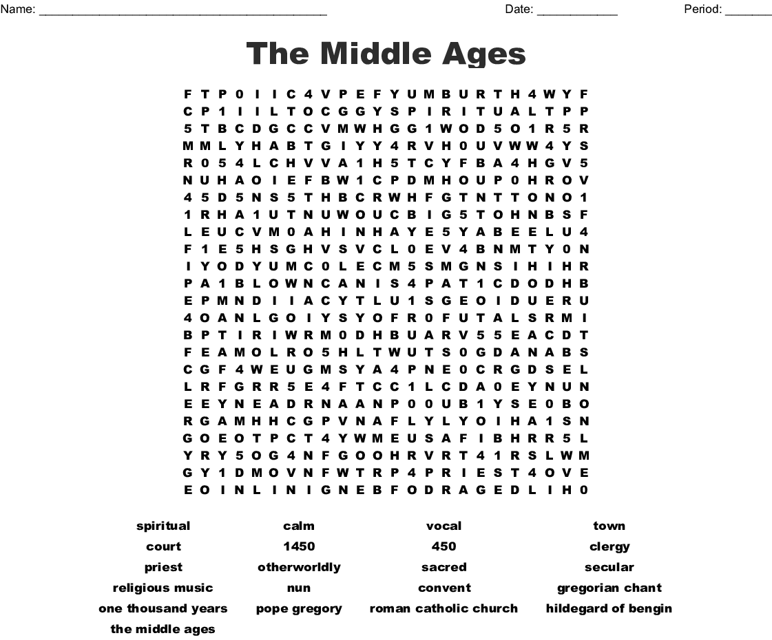 Music In The Me Val Era Middle Ages Word Search