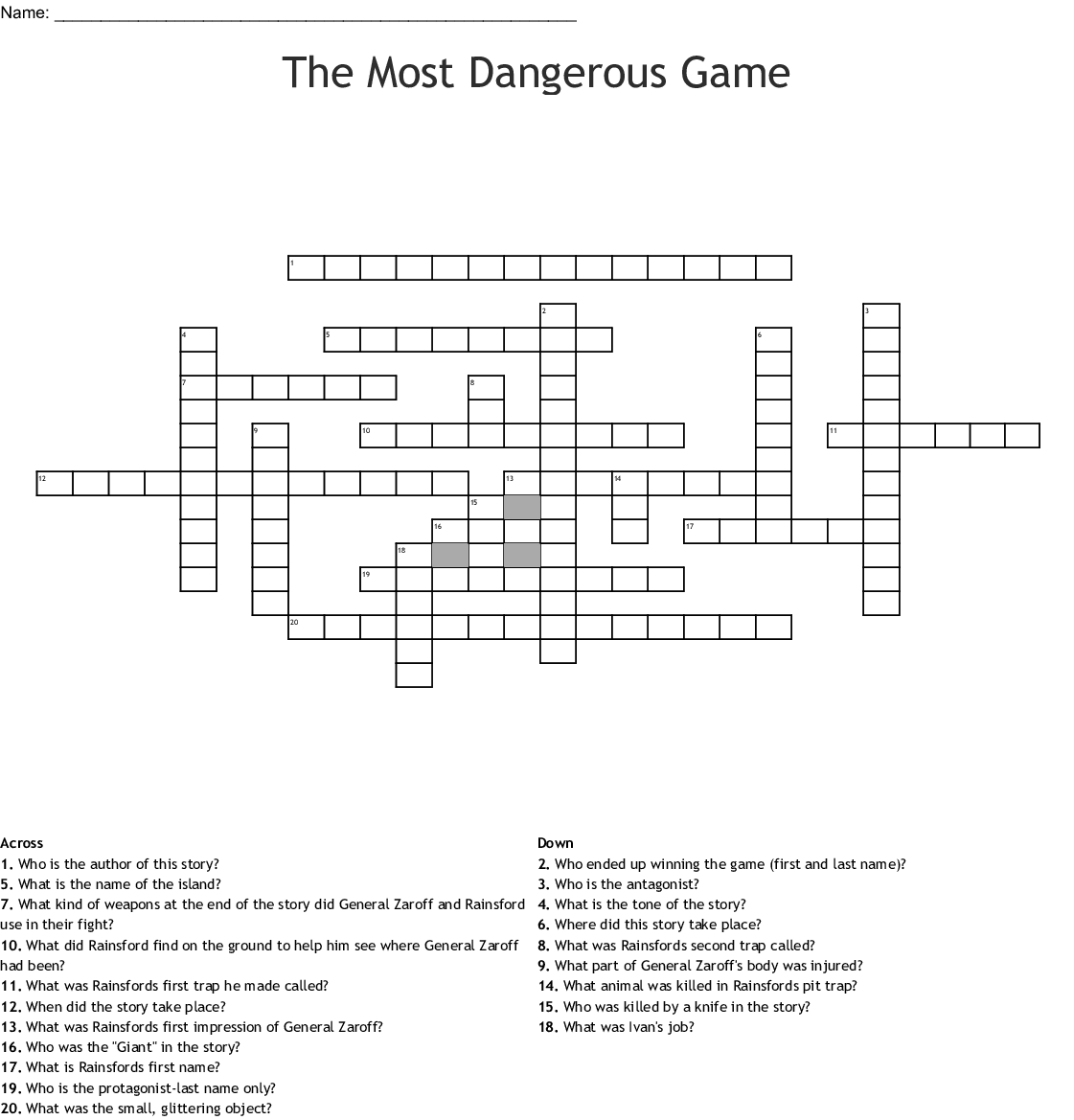 The Most Dangerous Game Word Search