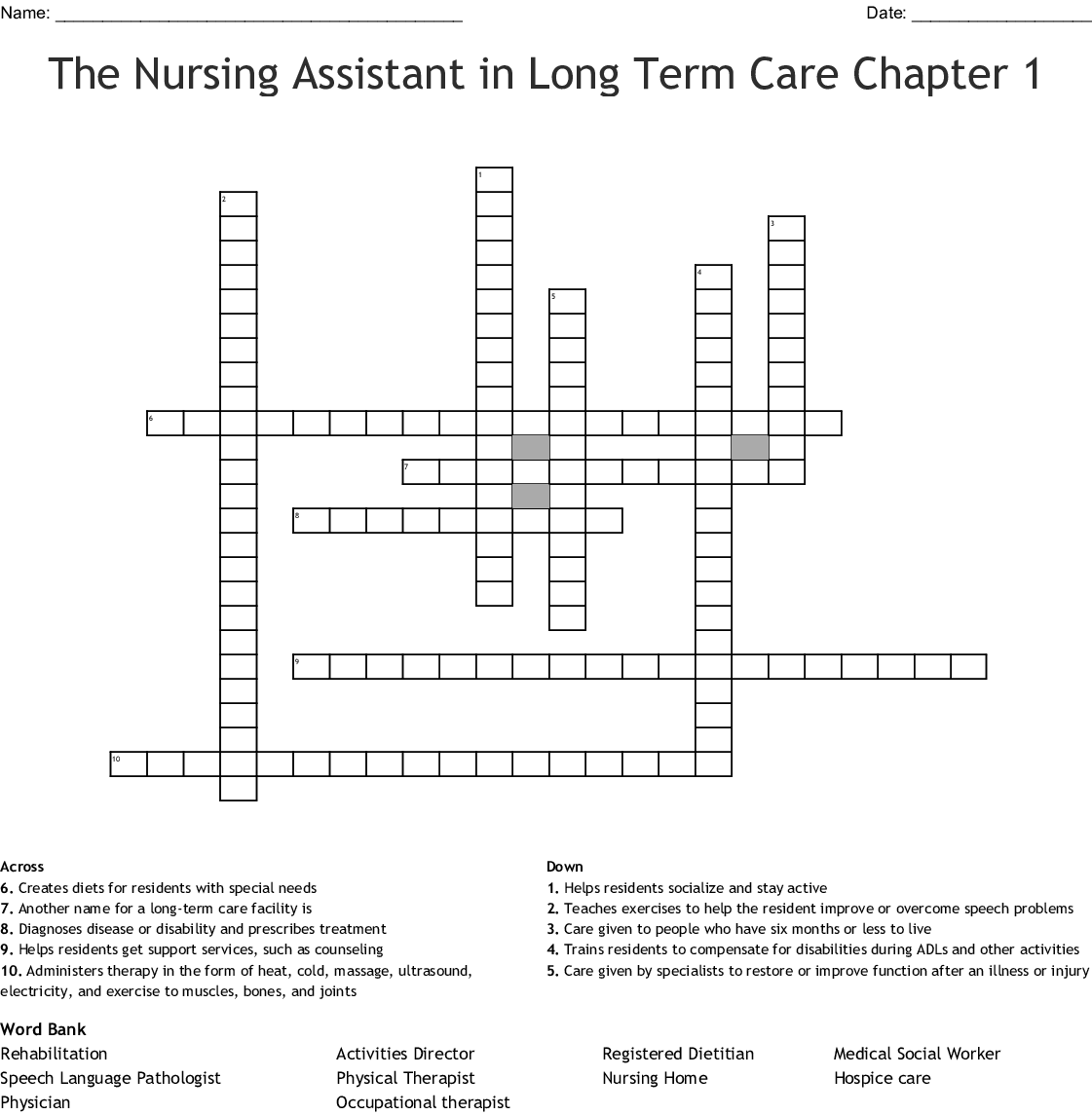 Nursing Crossword Puzzle Worksheet