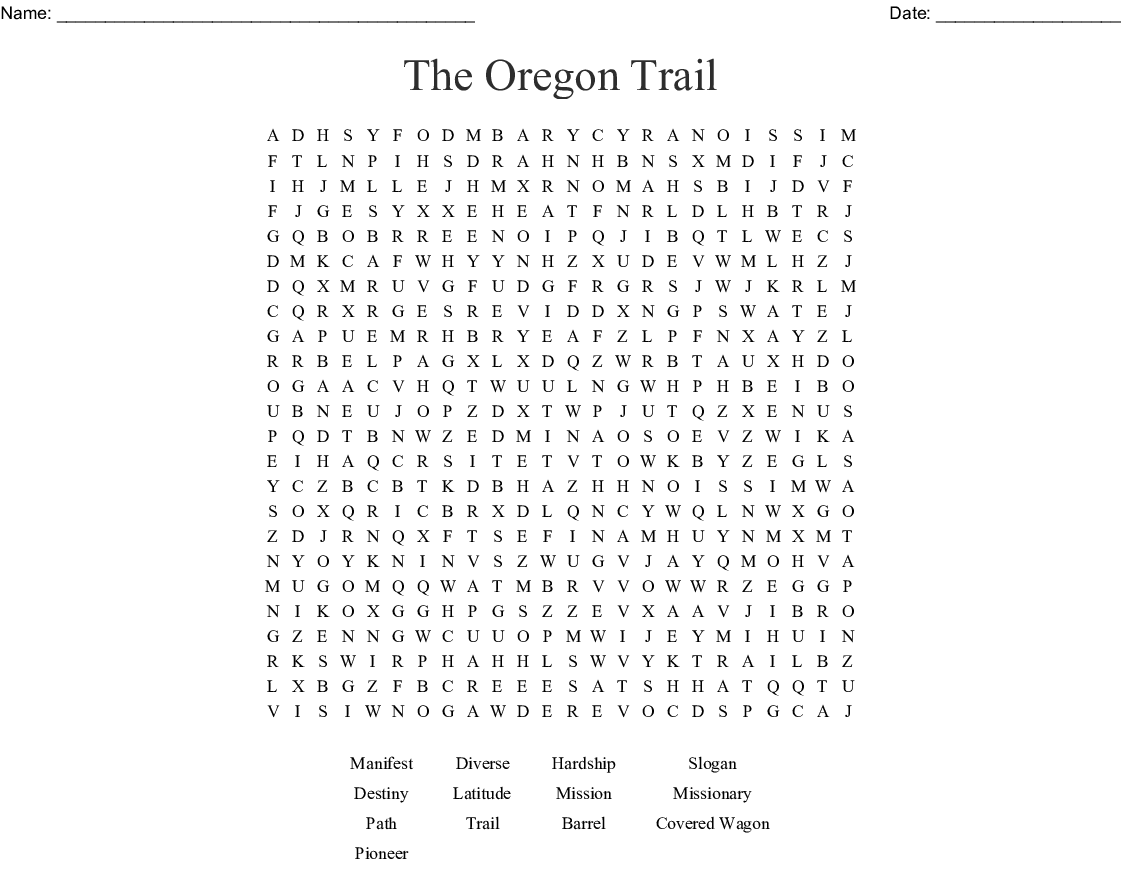 The Oregon Trail Word Search