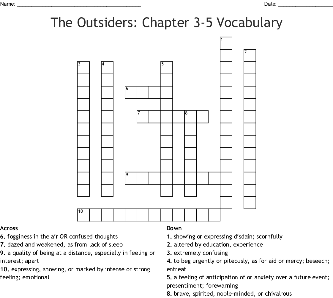 The Outsiders Chapters 4 6 Crossword