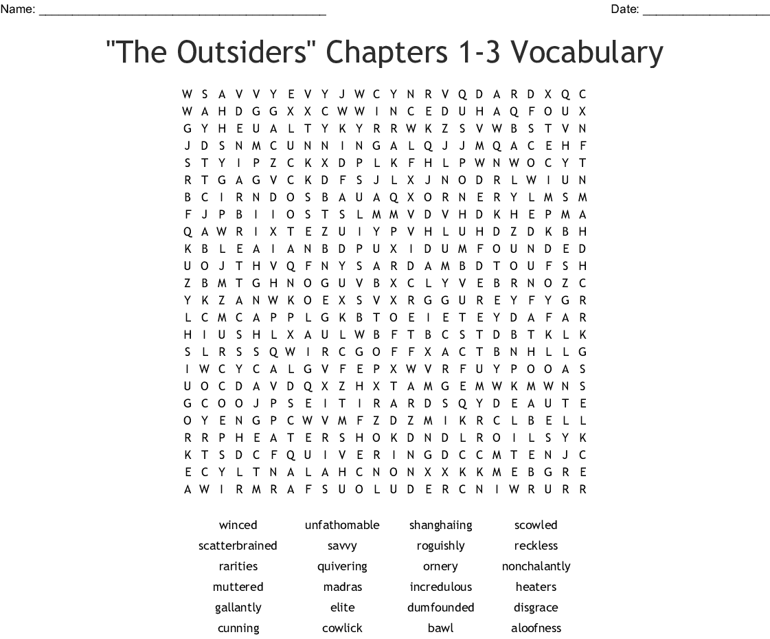 Chapter 1 Outsiders Crossword
