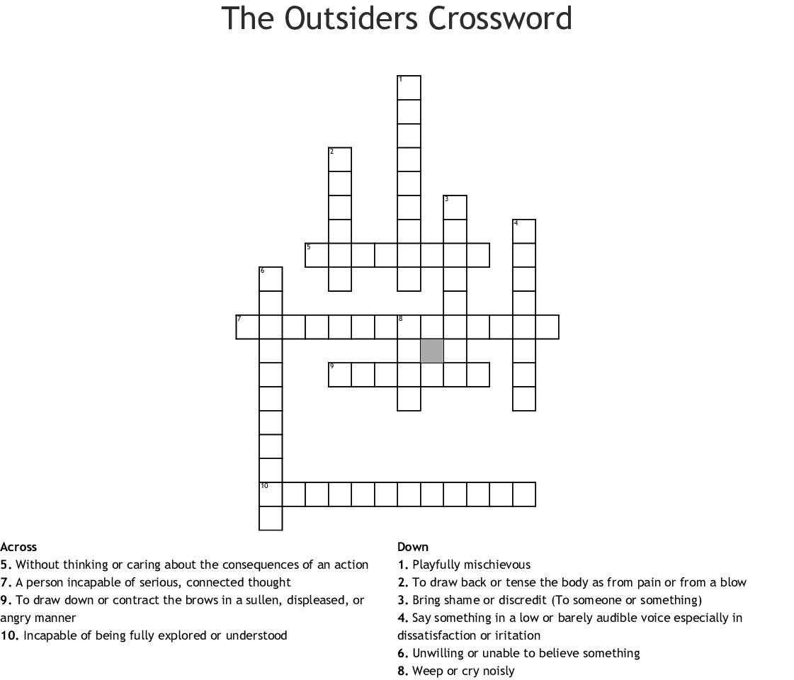 Outsiders 1 3 Crossword