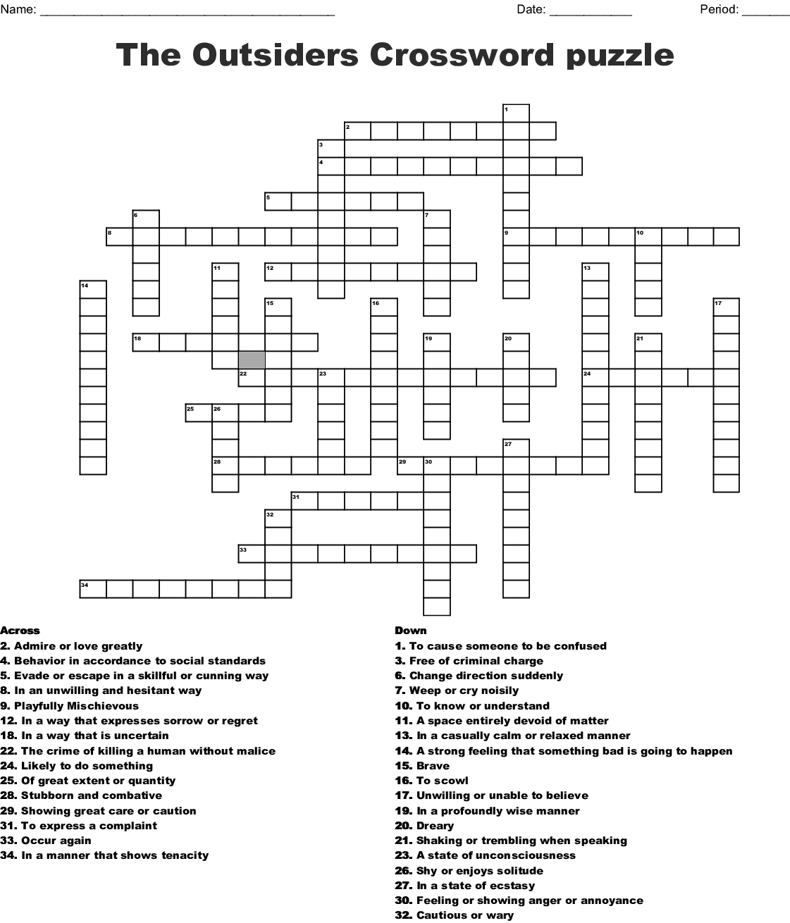 The Outsiders Vocab Chapter 10 11 And 12 Crossword