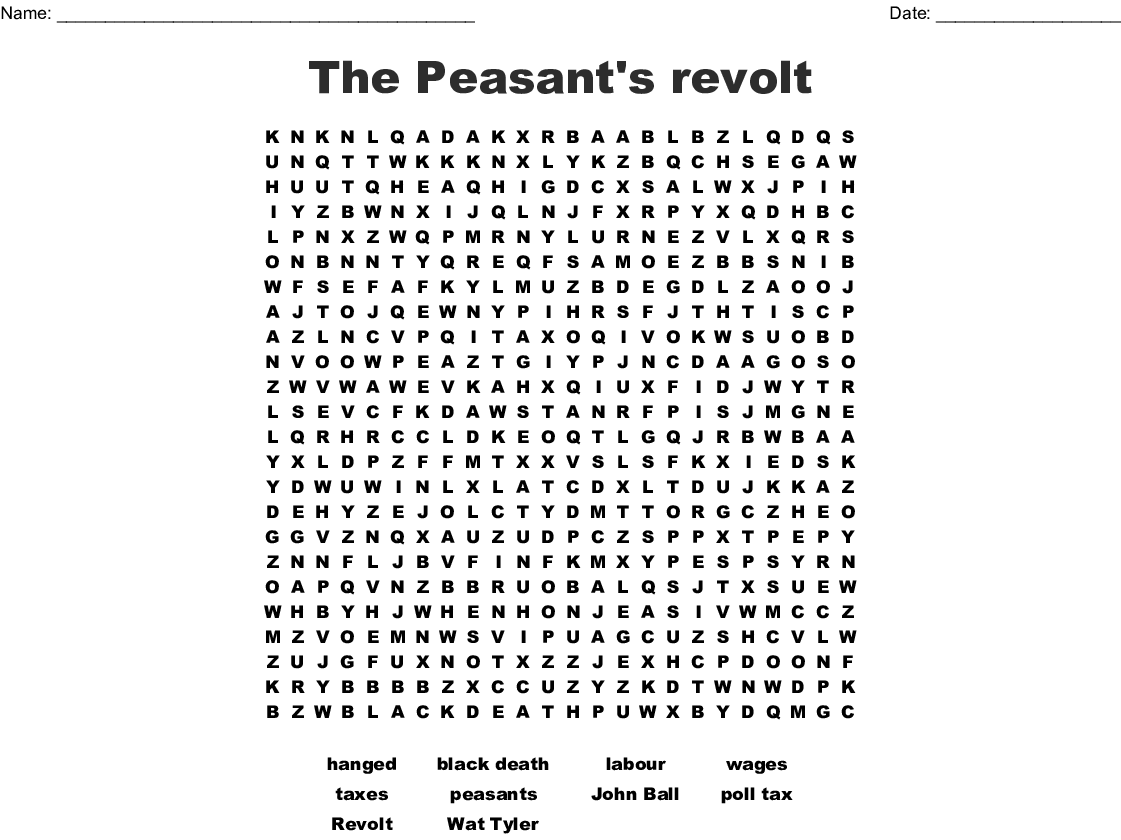 The Peasant S Revolt Word Search