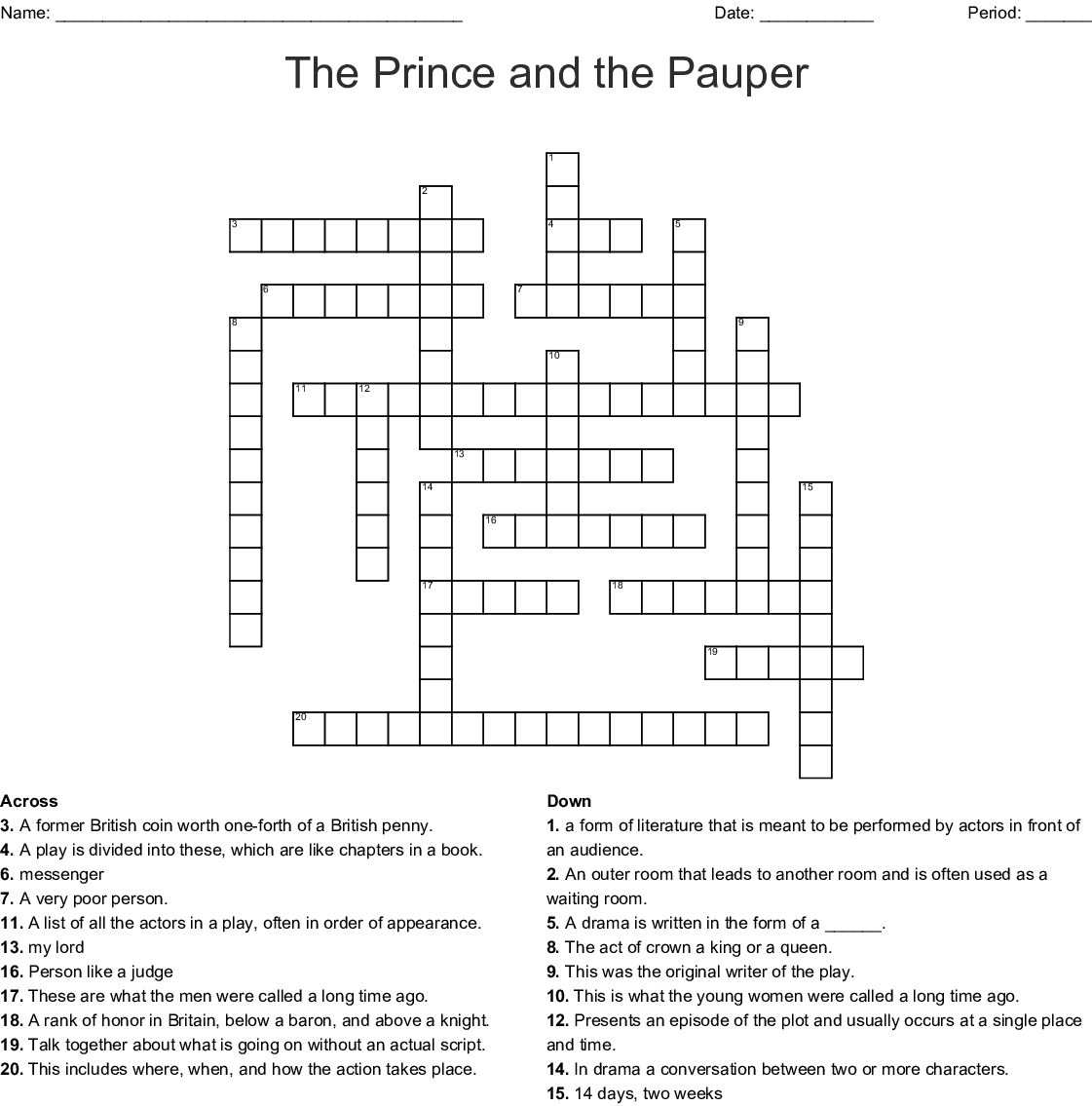 The Prince And The Pauper Vocabulary Word Search