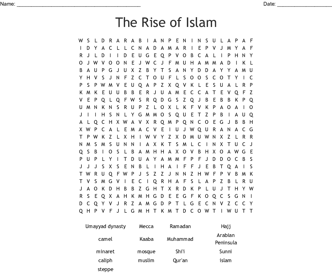 The Rise Of Islam Word Search