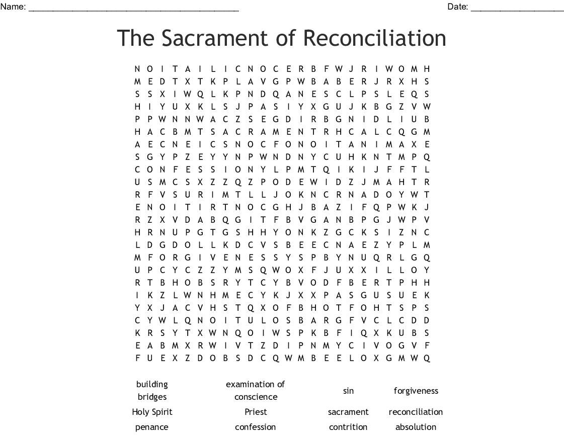The Sacrament Of Reconciliation Word Search