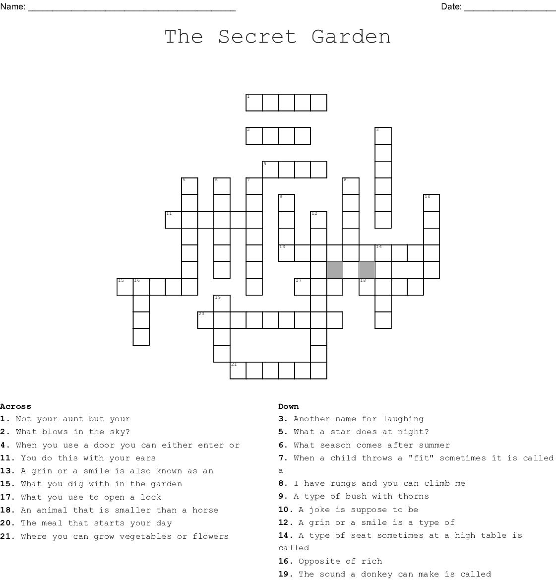 The Secret Garden Crossword