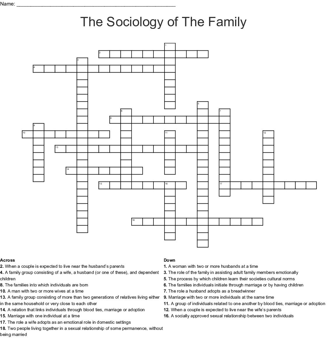 Sociology Unit Iii Worksheet Crossword