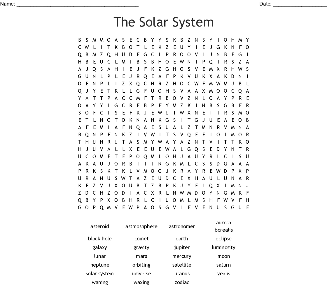 Free Solar System Word Search