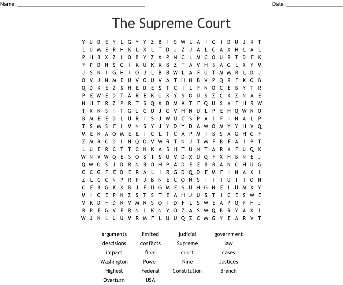 The Supreme Court Word Search