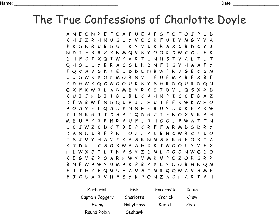 Charlotte Doyle Word Search