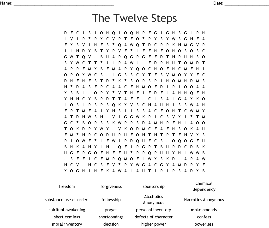 12 Steps Of Na Word Search
