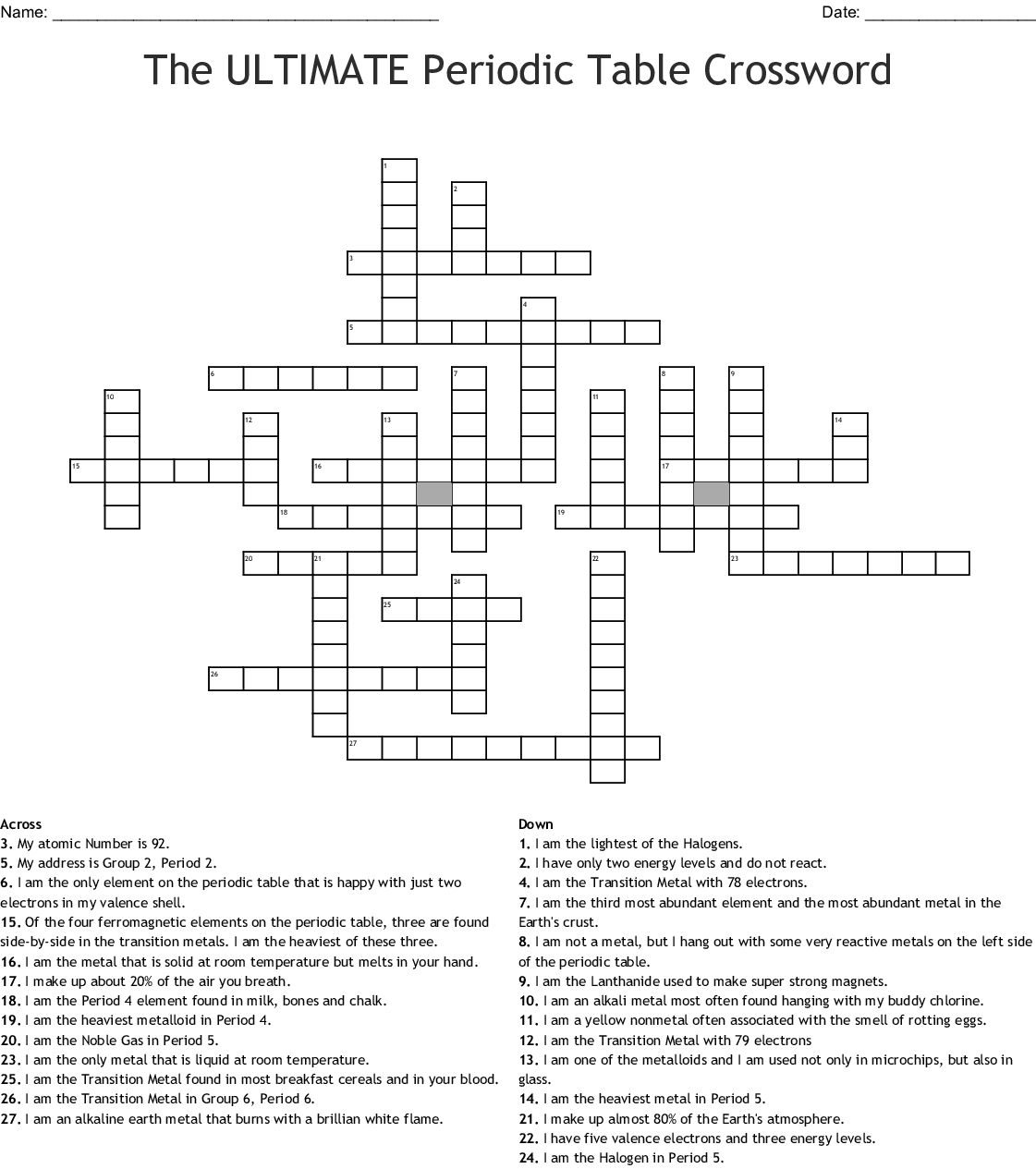 Chemistry Crossword Puzzle