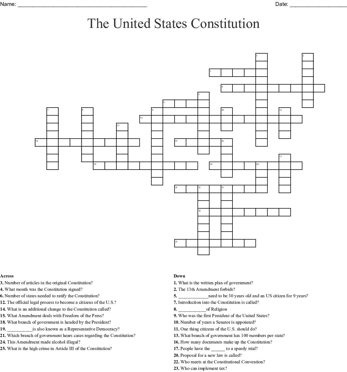 The United States Constitution Crossword