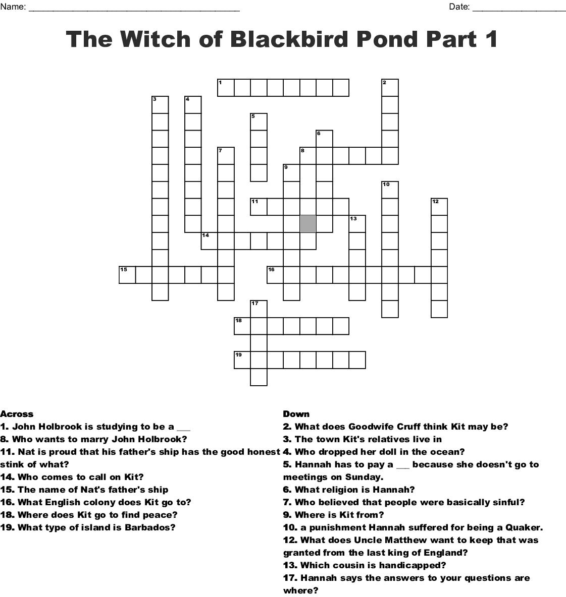 Witch Of Blackbird Pond Crossword
