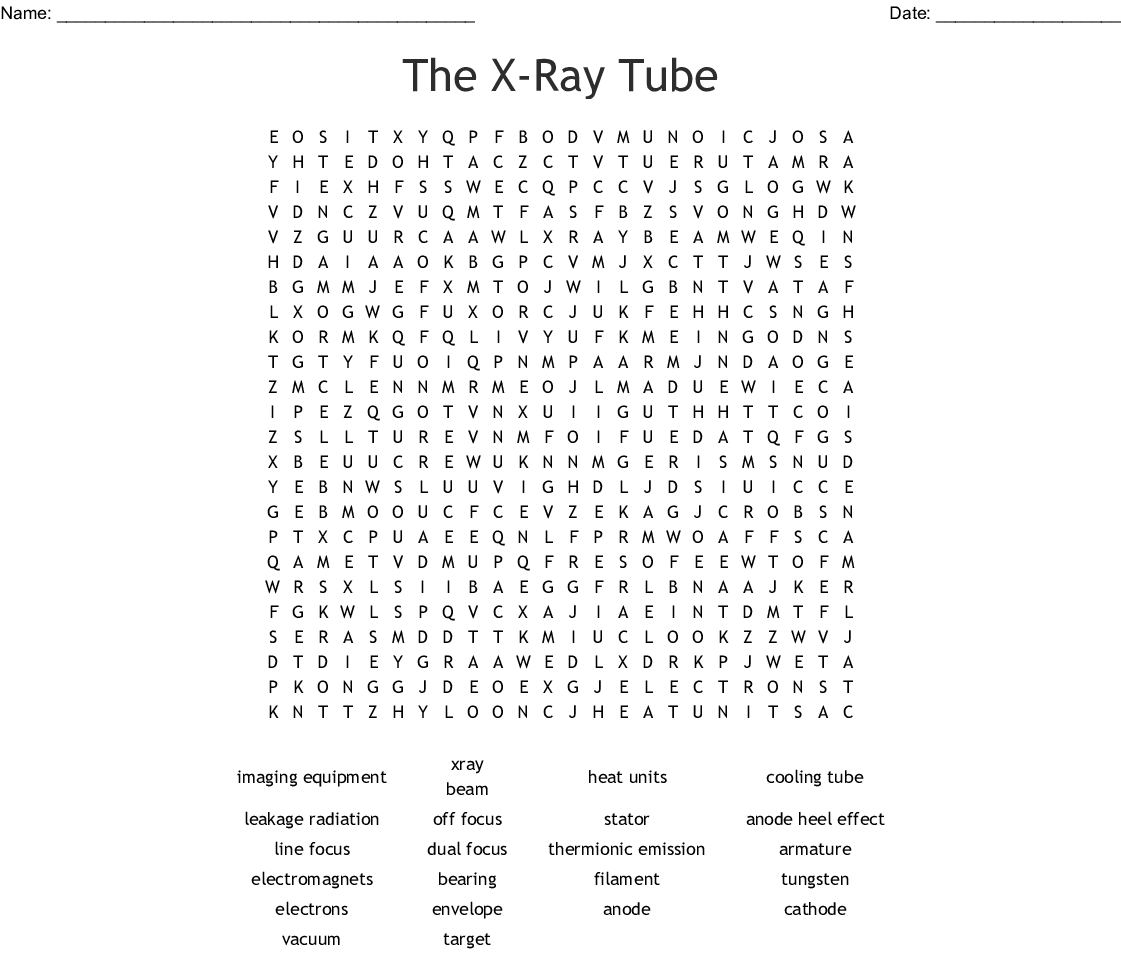 The X Ray Tube Word Search