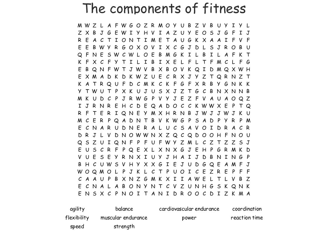 The Components Of Fitness Word Search