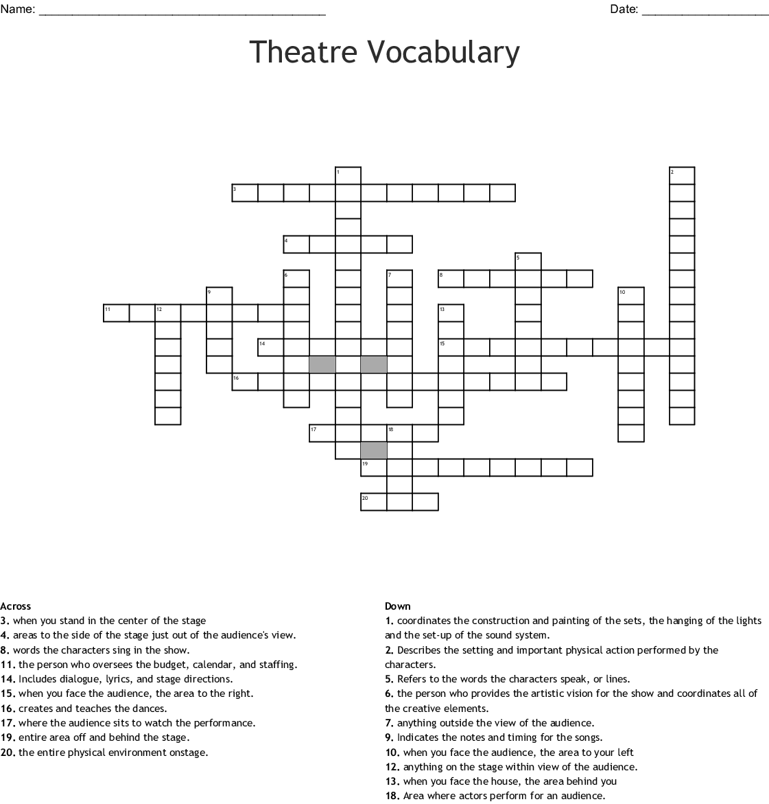 Drama Elements Word Search