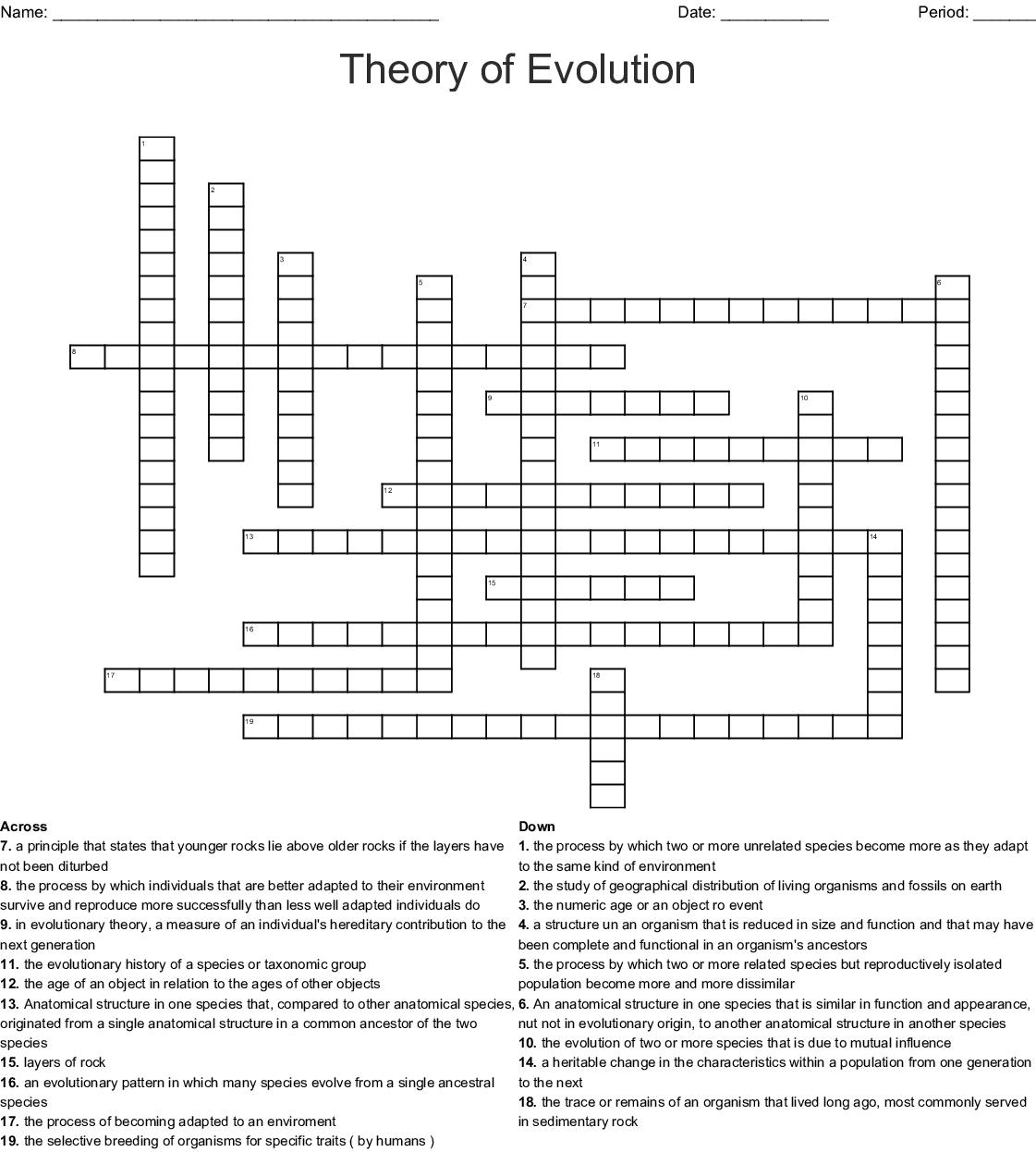 Theory Of Evolution Crossword