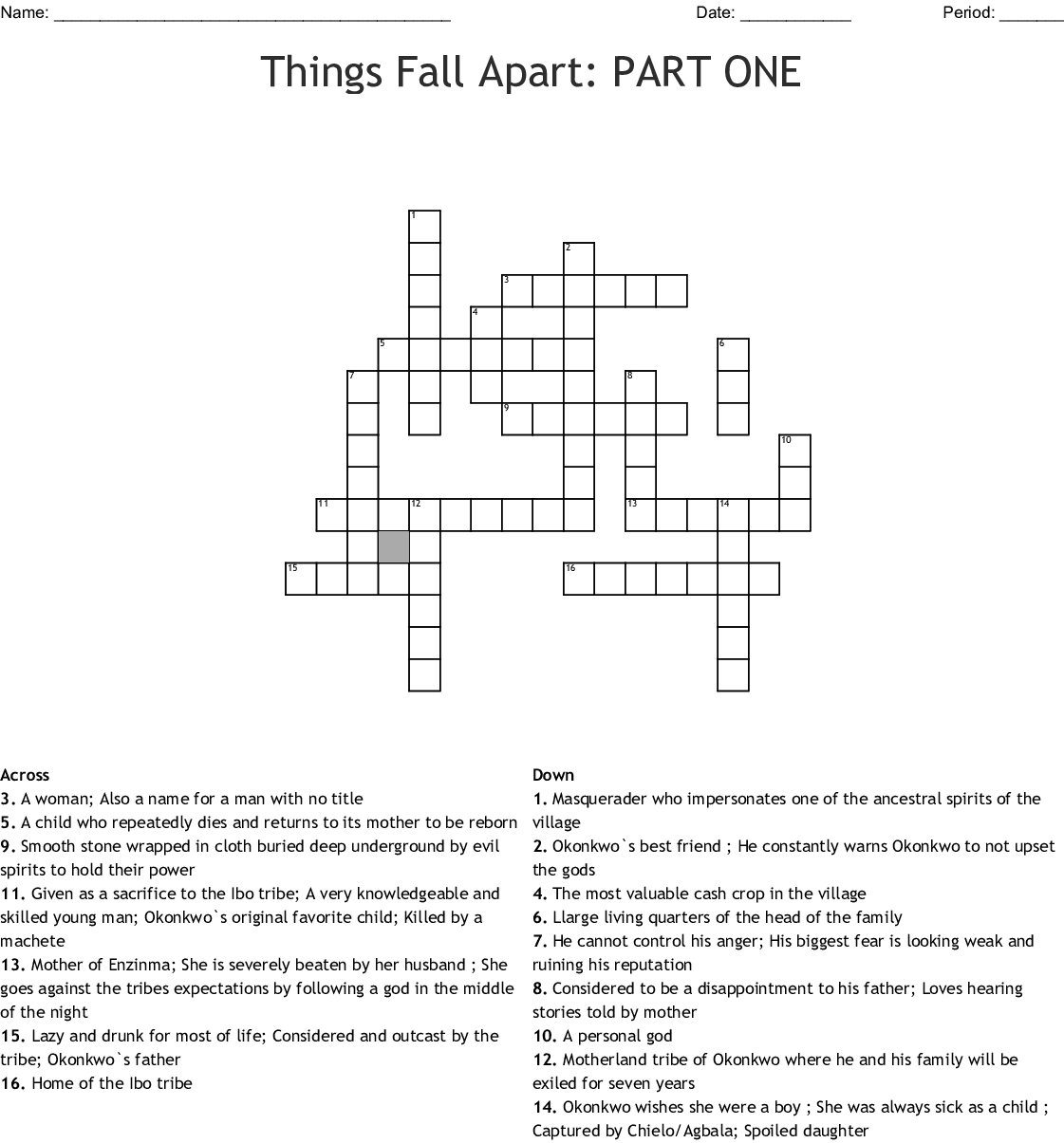 Things Fall Apart Part One Crossword