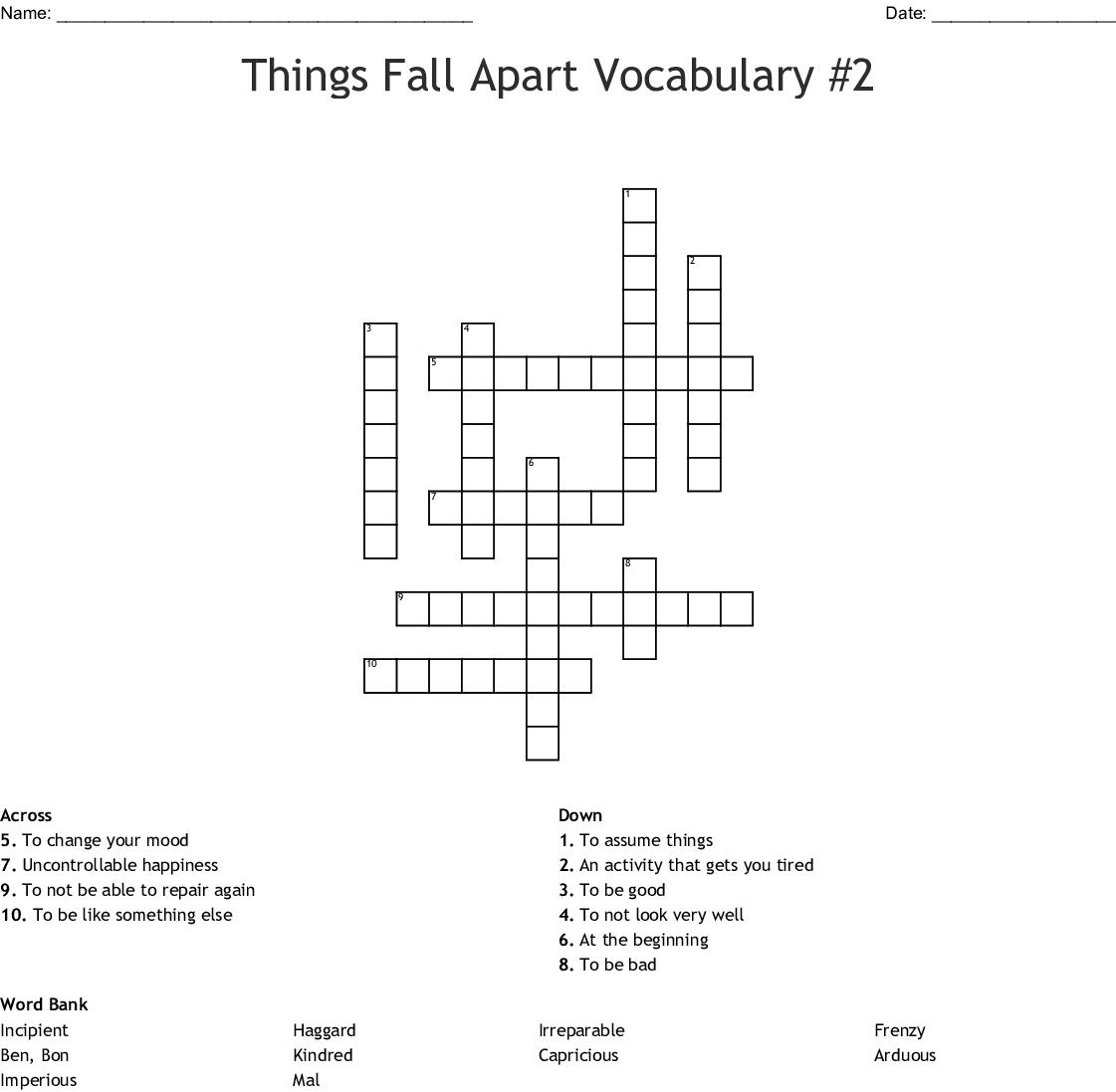 Things Fall Apart Vocabulary 2 Crossword