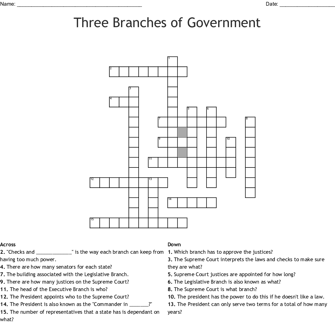 President Crossword Puzzle Worksheet