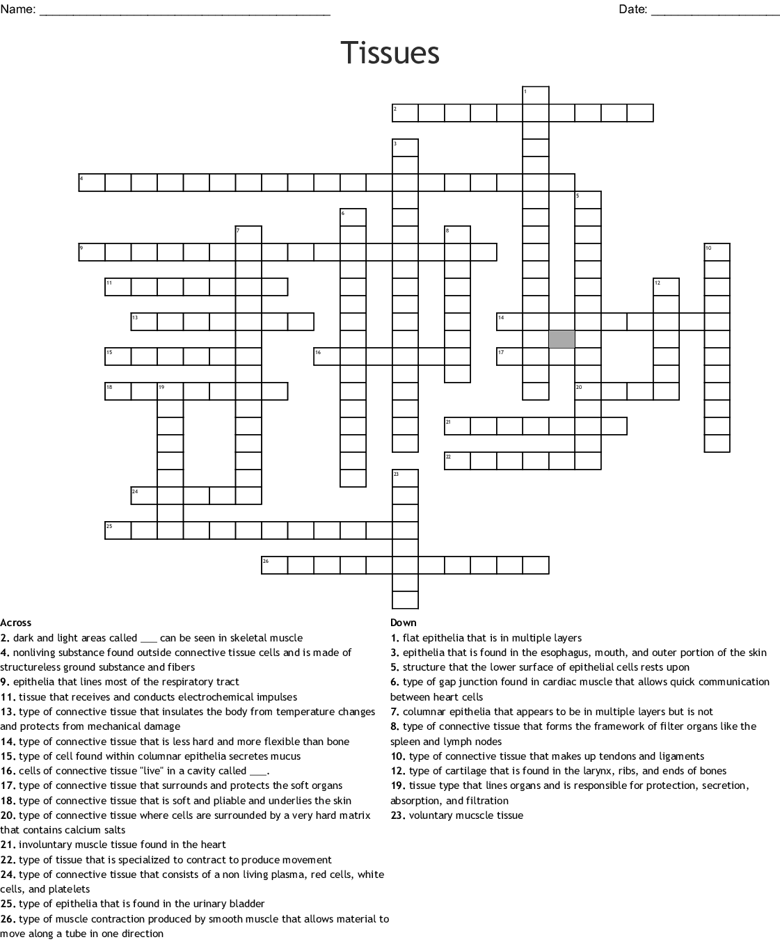 Tissues Crossword