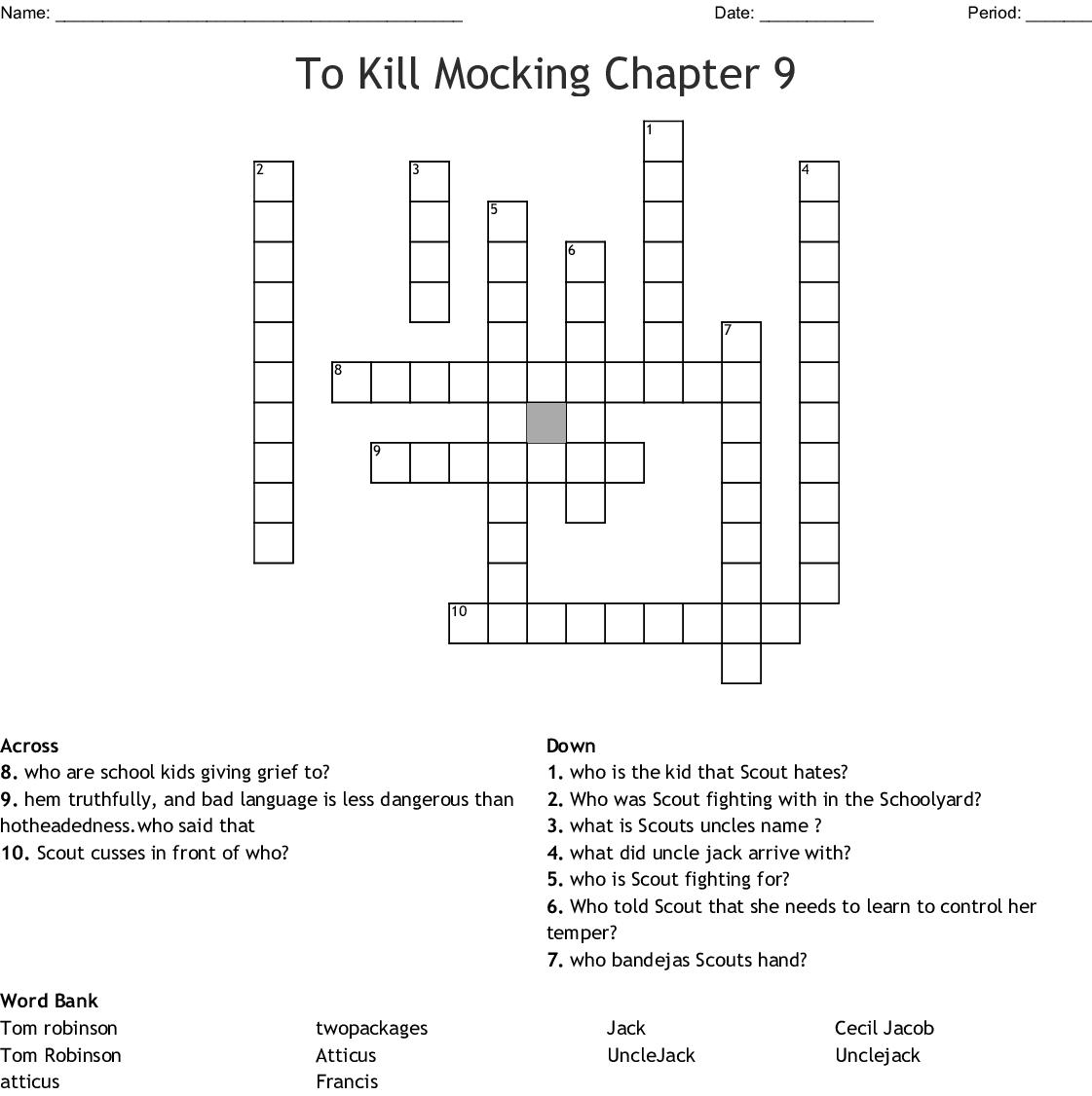 To Kill Mocking Chapter 9 Crossword