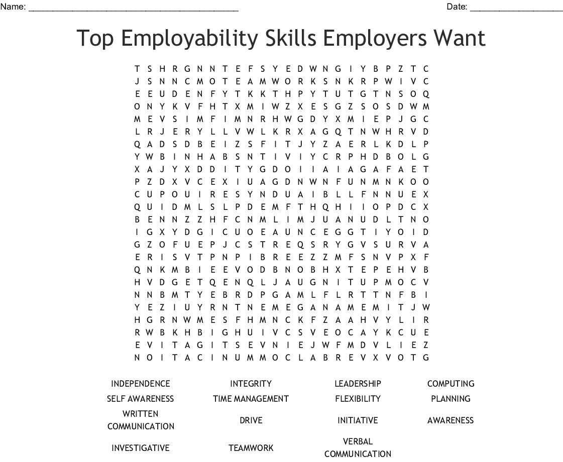 Employability Skills Word Search