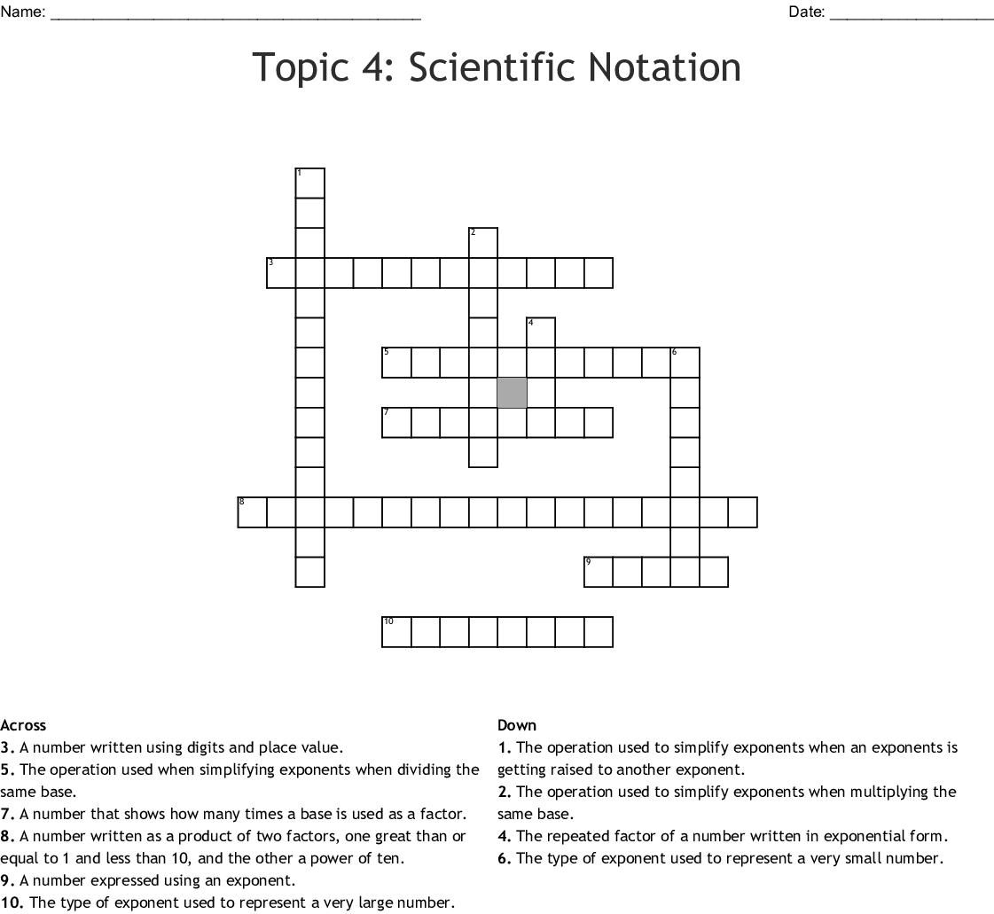 Topic 4 Scientific Notation Crossword