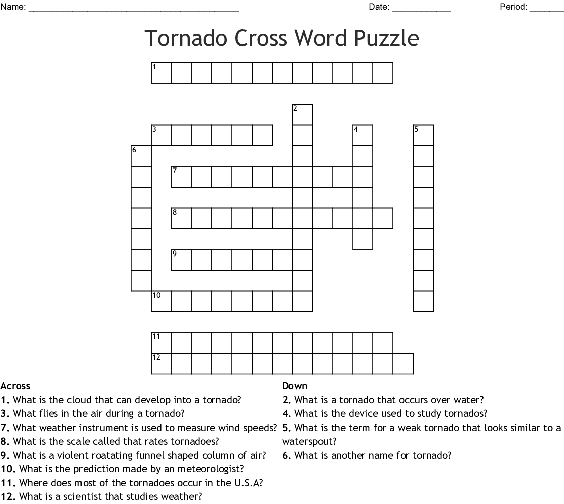 Tornadoes Crossword