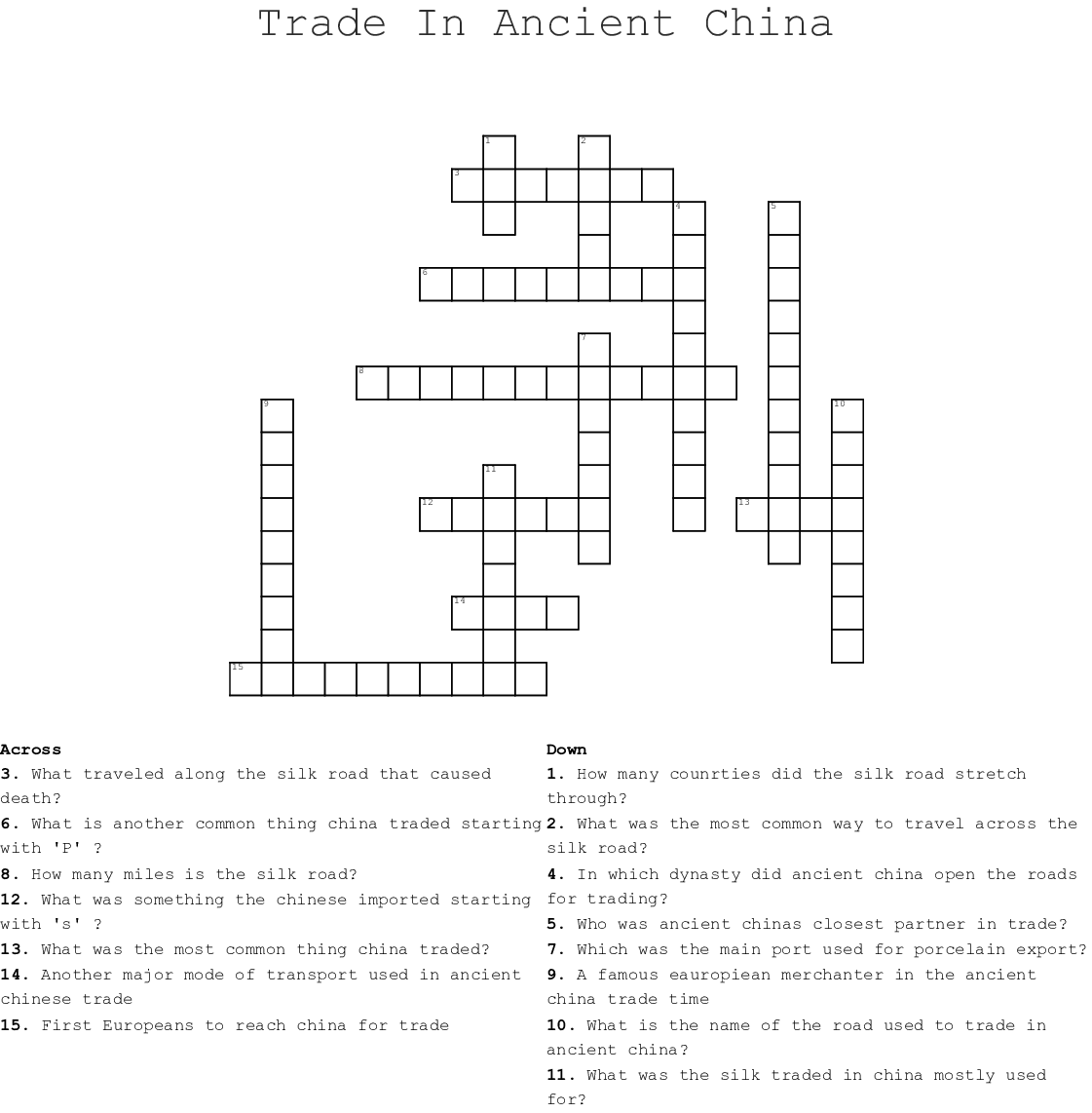 Trade In Ancient China Crossword